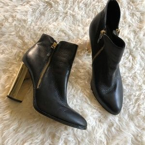 Saks Fifth Avenue Black Leather Gold Heel Bootie